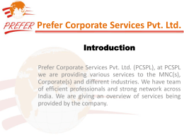 View Our Quick Profile - Prefer Corporate Services Pvt. Ltd.