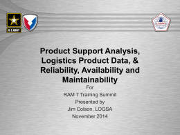 Product Support and RAM - Society of Reliability Engineers