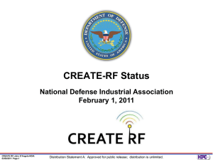 CREATE-RF Status - National Defense Industrial Association