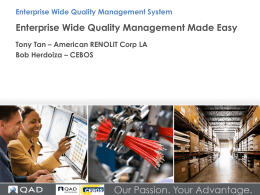 Enterprise Wide Quality Management System