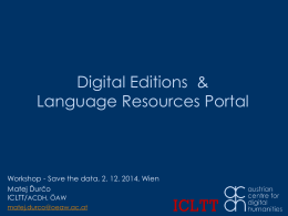 Language Resources Portal - Digital Humanities Austria