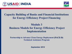 Business Models for Energy Efficiency Project Implementation