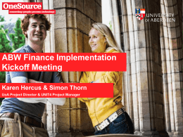 ABW Finance Implmentaion Kickoff Meeting