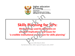 Skills Planning for SIPs: Methodology used & reflections on possible