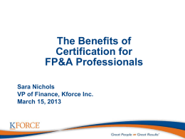 The Benefits ofCertification for FP&A Professionals