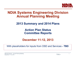 2013 Summary and 2014 Plan - National Defense Industrial