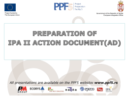 preparation of ipa ii action document(ad)