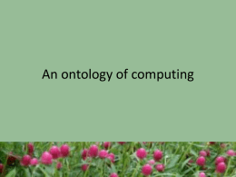 An ontology of computing - Villanova Department of Computing
