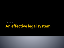 Chapter 11 - An effective legal system