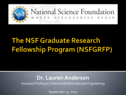 Applying for an NSF Fellowship