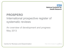 PROSPERO International prospective register of systematic reviews