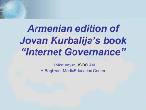 Armenian edition of Jovan Kurbalija`s book