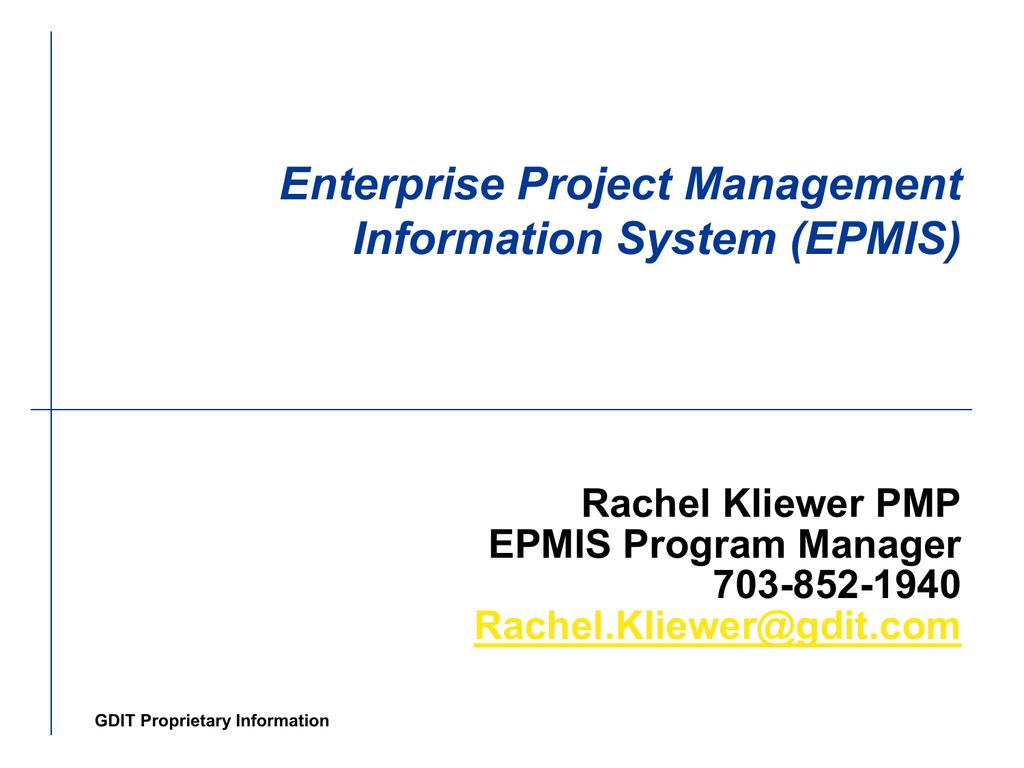 Enterprise Program Management Information