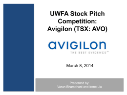 Avigilon - UW Stock Pitch Competition