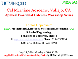 PPT - The MESA Lab - University of California, Merced
