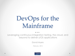 DevOps for the Mainframe - Individual CMG Regions and SIGs