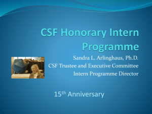 CSF Honorary Intern Programme