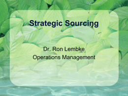 Strategic Sourcing - College of Business