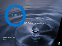 HP Critical Advantage