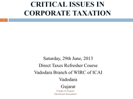 CRITICAL ISSUESS IN CORPORATE TAXATION