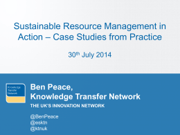 Ben Peace, KTN - Institute of Environmental Management and