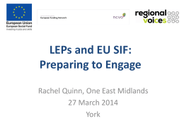 LEPs and EU SIF - Involve Yorkshire & Humber
