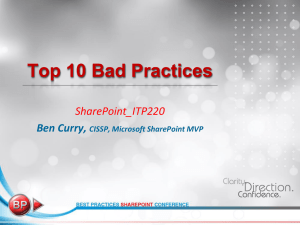 Top 10 Bad Practices - Chicago SharePoint User Group