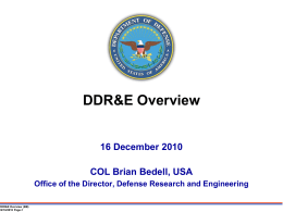 COL Brian Bedell, USA - National Defense Industrial Association