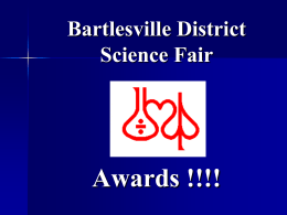 Jr Sr Special Awards Presentation - Bartlesville District Science Fair