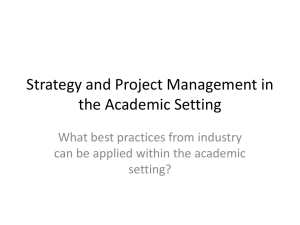 Strategy and Project Management in the Academic Setting