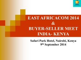 BUYER-SELLER MEET 2014 INDIA- KENYA