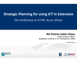 Strategic planning for using ICT in extension