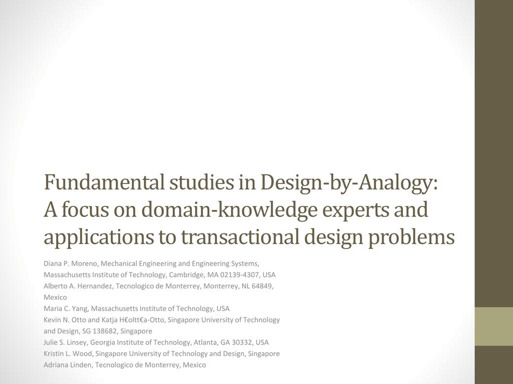 Awe Inspiring Fundamental Studies In Design By Analogy A Focus On Download Free Architecture Designs Oxytwazosbritishbridgeorg