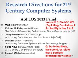 asplos2013_panel - University of Wisconsin–Madison