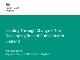 The Developing Role of Public Health England