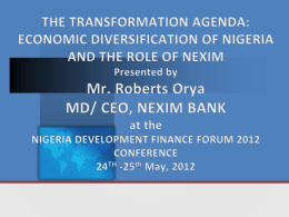 THE TRANSFORMATION AGENDA: ECONOMIC DIVERSIFICATION