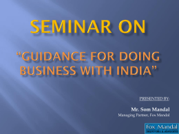 seminar on *guidance for doing business with india