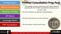 FirstNet Consultation Prep Pack - Preparing for FirstNet in Maryland