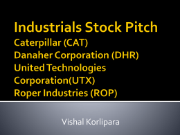 Industrials Stock Pitch Caterpillar (CAT) Danaher Corporation