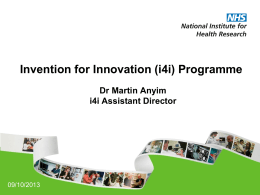 Invention for Innovation (i4i) Programme