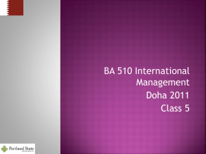 BA 510 International Management - School of Business Administration