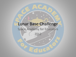 Lunar Base Challenge - USSRC Space Academy For Educators