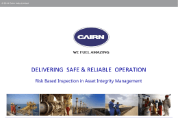 Risk Based Inspection in Asset Integrity Management
