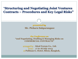 Structuring and Negotiating Joint Ventures Contracts