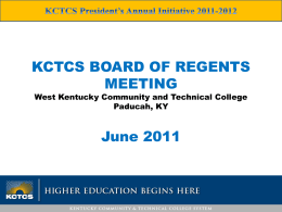 President`s Annual Initiative - Kentucky Community & Technical