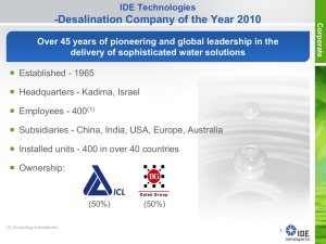 IDE Presentation - Israel Trade Commission, Sydney, Australia