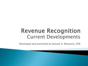 Current Developments in Revenue Recognition