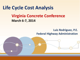 Life Cycle Cost Analysis - Virginia Department of Transportation