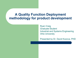 Quality Function Deployment - Masters in Engineering Management