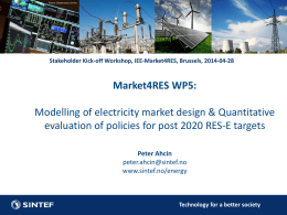 Modelling of electricity market design & quantitative